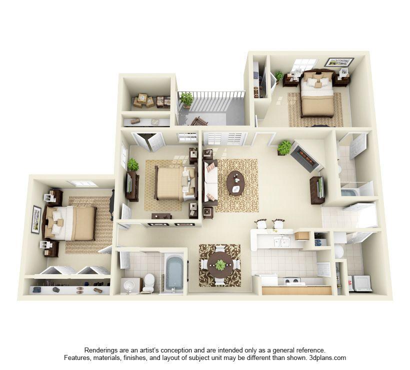 50 Two 2 Bedroom ApartmentHouse Plans Ensuite bathrooms