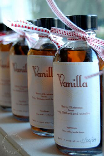Homemade vanilla extract.  My roomie will love this!