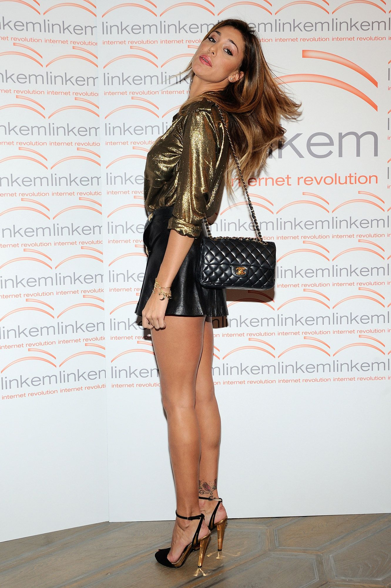 Belén Rodríguez - Glitter blouse, Black leather skirt, Black ...