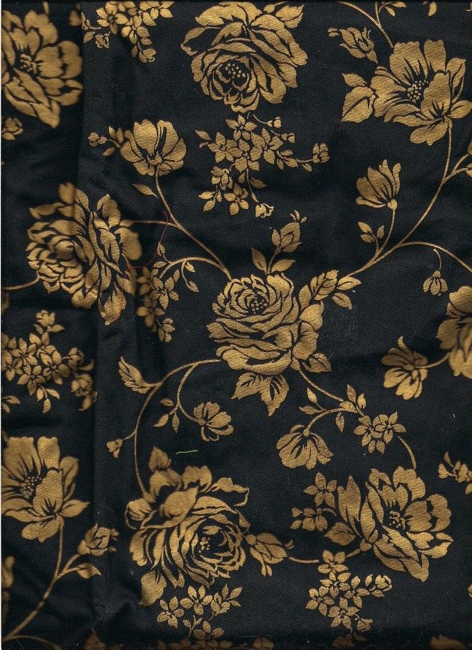 Black And Gold Floral Print Fabric 2 Yards 100 Cotton