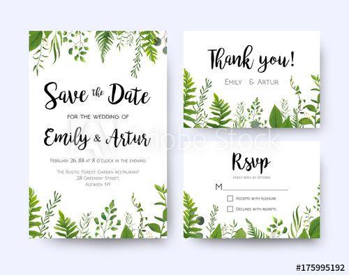 Wedding invite invitation menu rsvp thank you card vector floral wedding invite invitation menu rsvp thank you card vector floral greenery design forest fern stopboris Gallery