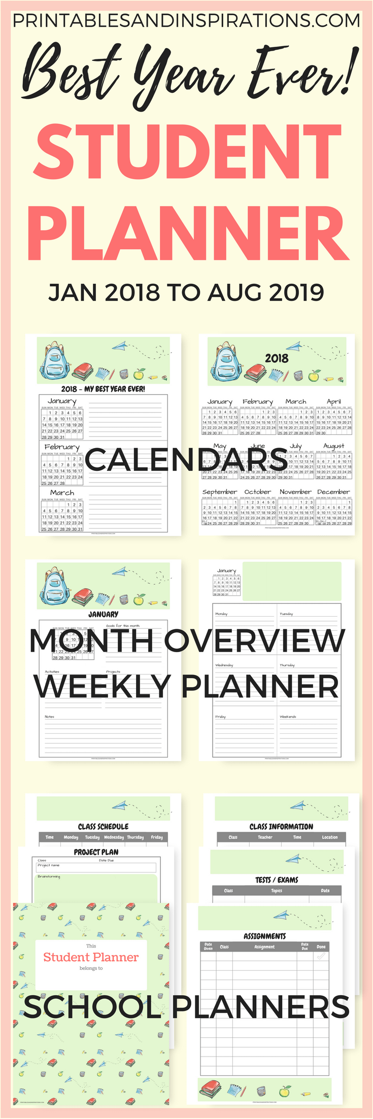 Free Student Planner Printable Binder For 2019 2020 Updated