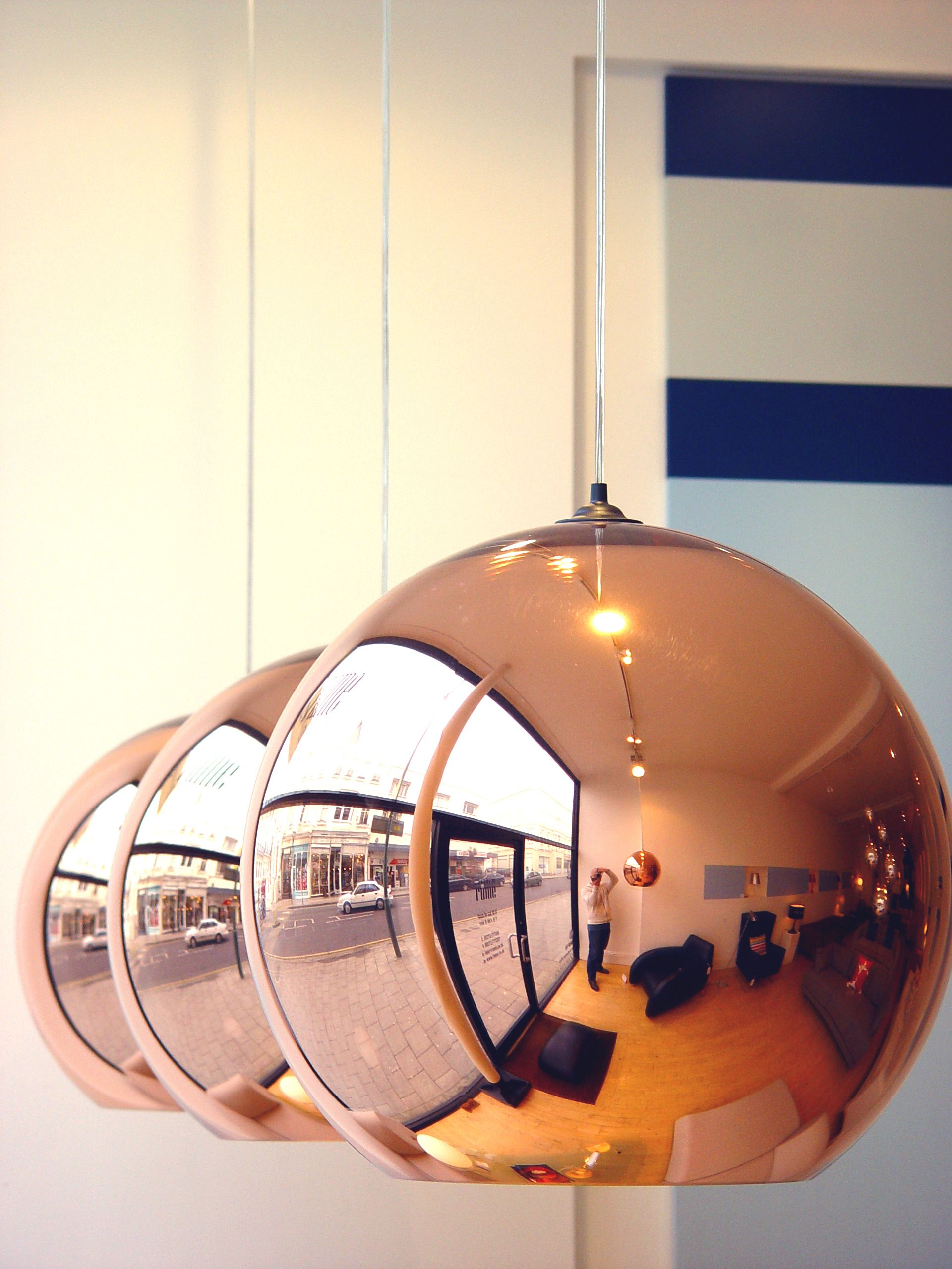 Copper Shade Suspension Light By Tom Dixon Pictured In Our Hove Store Plastic Polycarbonate Globe With Metali Funky Lighting Suspension Light Copper Mirror