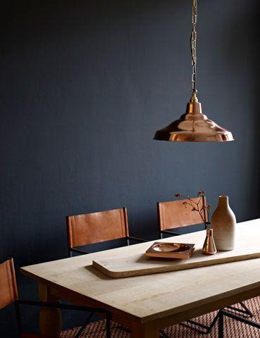 copper lamp, interior design, dark walls, urban home decor