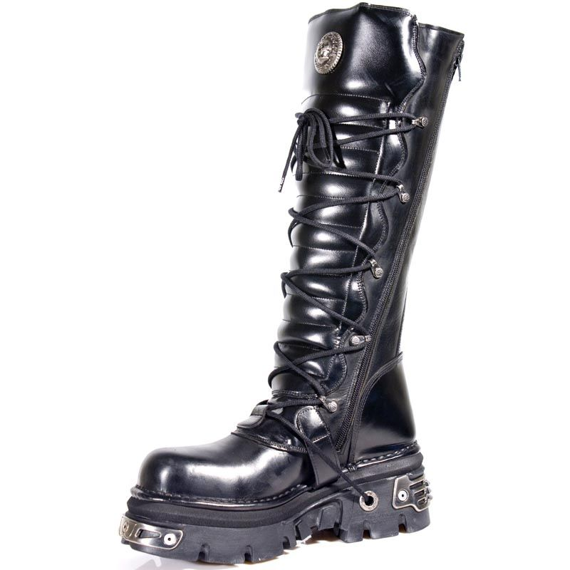 Black Leather Knee High Boots | Boots, Goth boots, New rock