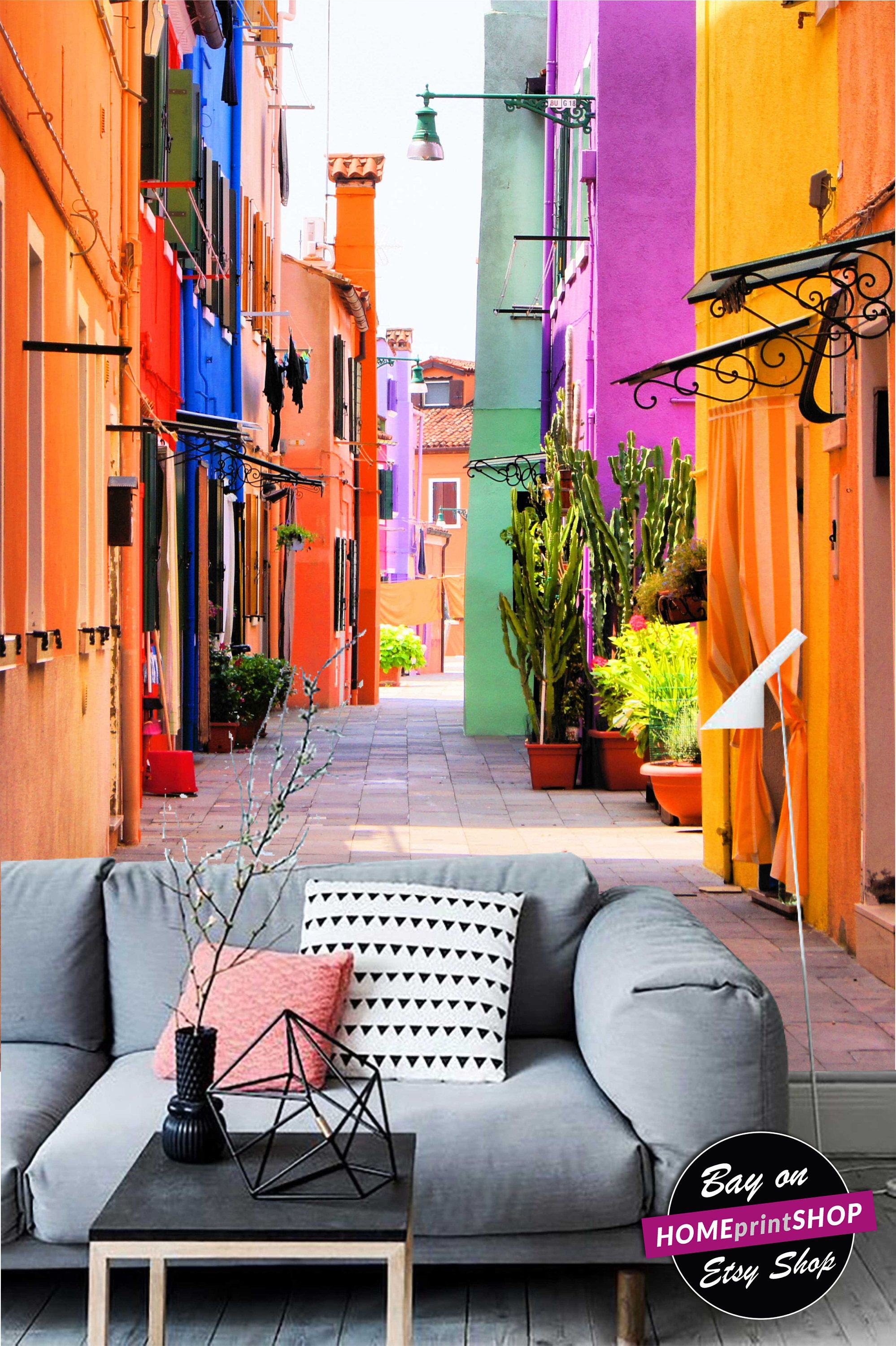 Colorful Street In Burano, Venice, Italy  Wall Art Decor