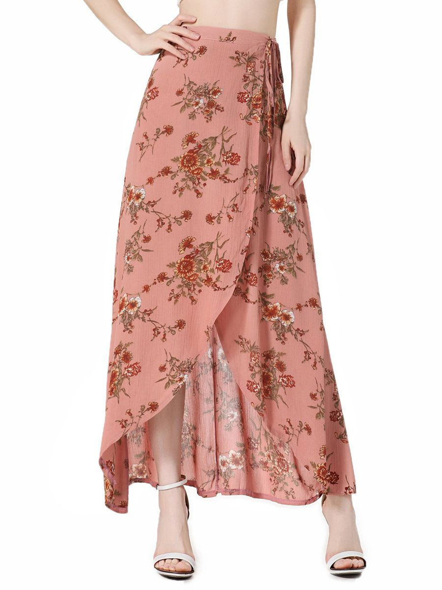 #AdoreWe #JustFashionNow Skirts❤️Designer She's Wild Wind Coral Floral Boho Wrap Skirt - AdoreWe.com