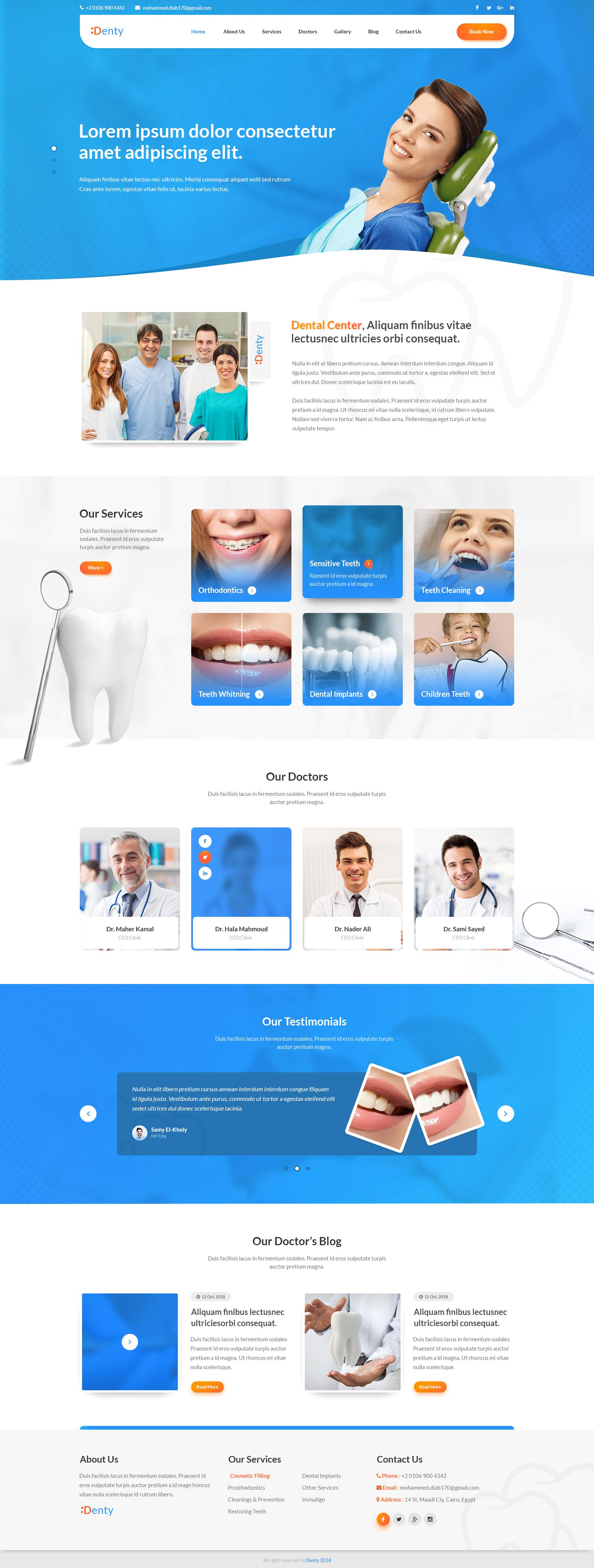 denty dental medical psd website template clinic dental psd