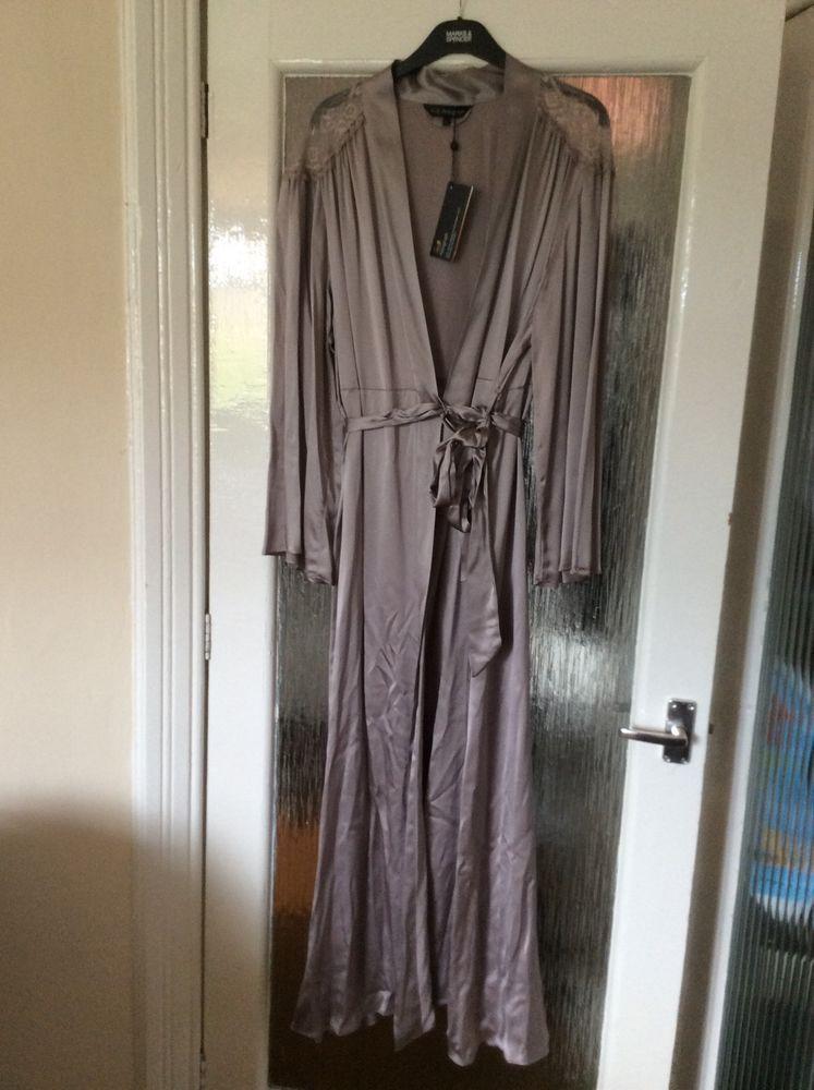 M&S ROSIE AUTOGRAPH ladies Long dressing gown 100%SILK UK20 EU48 ...
