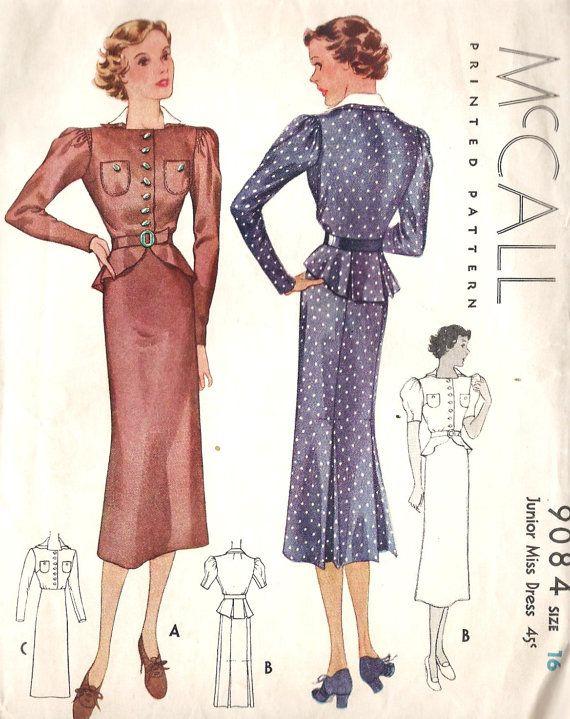 1930s Junior Miss Dress Vintage Sewing Pattern by MissBettysAttic ...
