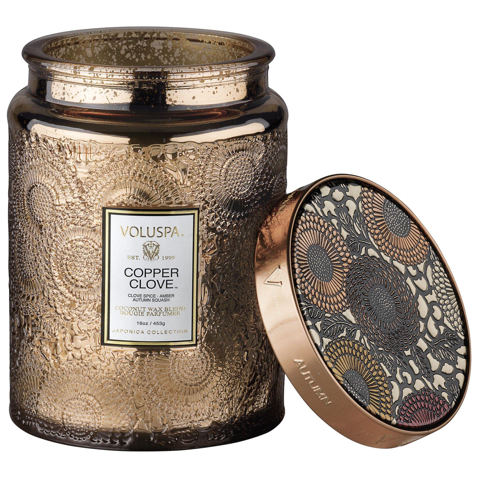 VOLUSPA Copper Clove Large Glass Jar 16 oz/ 453 g | Candle jars, Glass jar  candles, Large glass jars