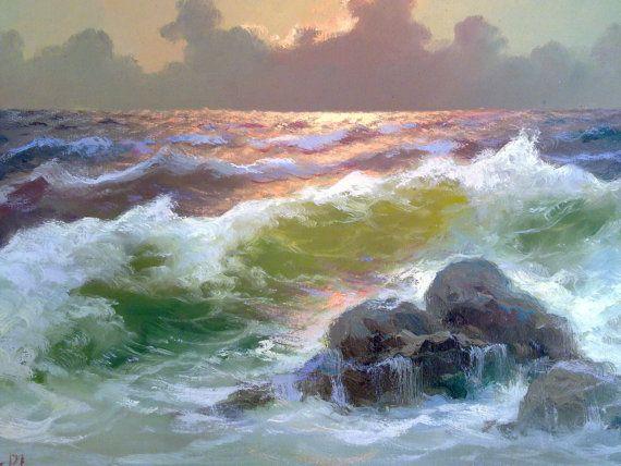 Quadro paesaggio marino M. Rinaldi di LOSAU su Etsy
