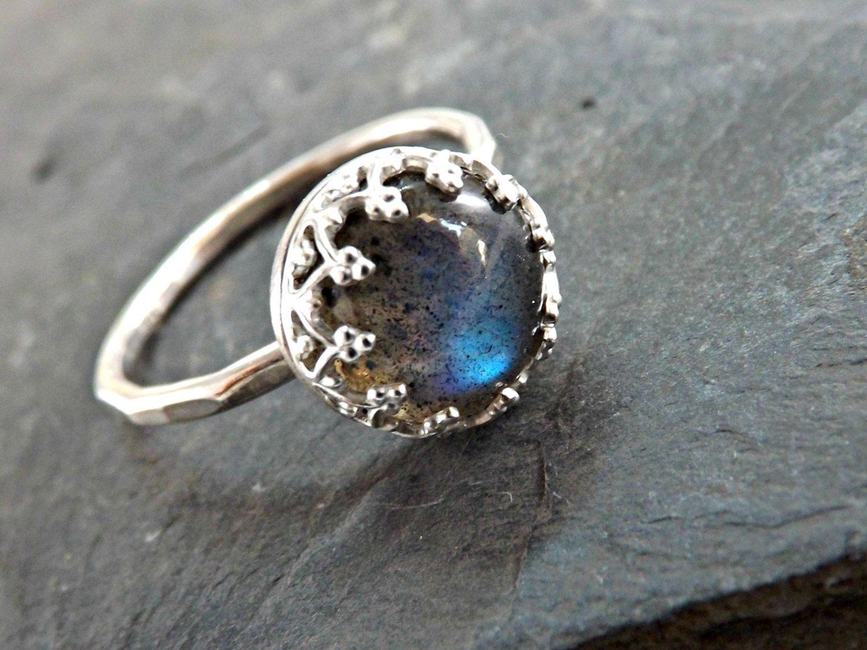 Labradorite engagement ring silver labradorite ring delicate