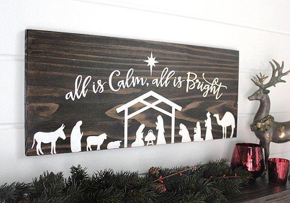 Christmas Nativity Christmas Wall Decor Christmas Wood Signs Farmhouse Christmas Decor Ideas Woo Christmas Signs Wood Christmas Wood Winter Decorations Diy