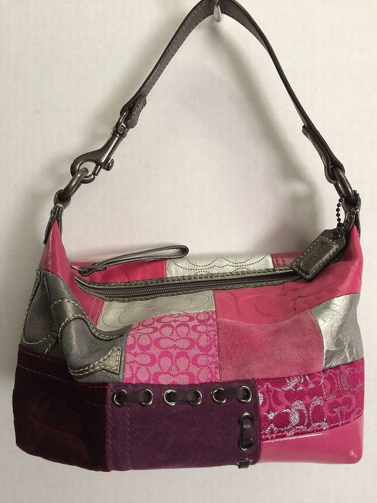 Coach Limited Edition Pink Patchwork Multi Leather Baguette Handbag