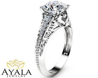Oval Diamond Engagement Ring 14K Yellow Gold Oval by AyalaDiamonds