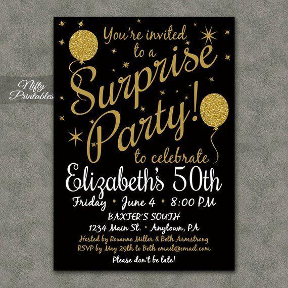 Surprise Party Invitations Printable Black Gold Surprise