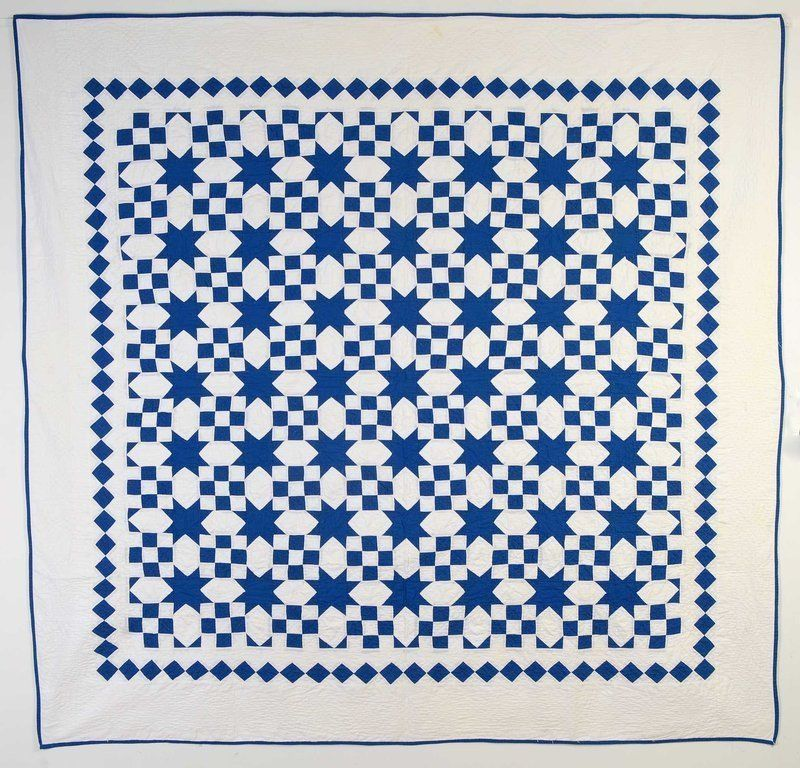 Nine Patch and Evening Stars Quilt: Circa 1920; Pa,