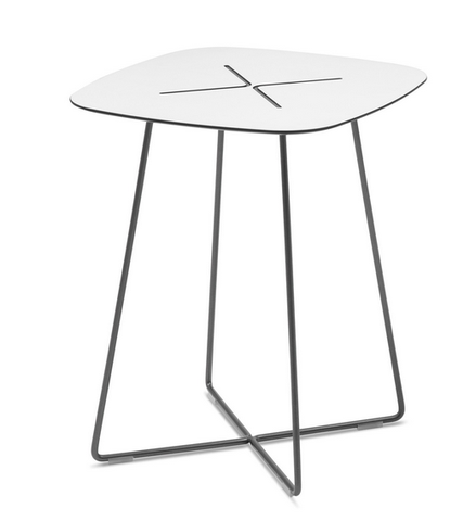 Best Buy White Laminate Top Side Table In Grey Frame 400 x 300