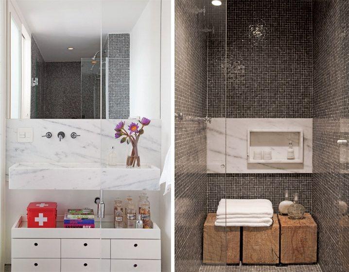 banheiro pequeno  Ideias para Banheiros  Pinterest  Chuveiros e Caixas -> Banheiro Pequeno Chuveiro