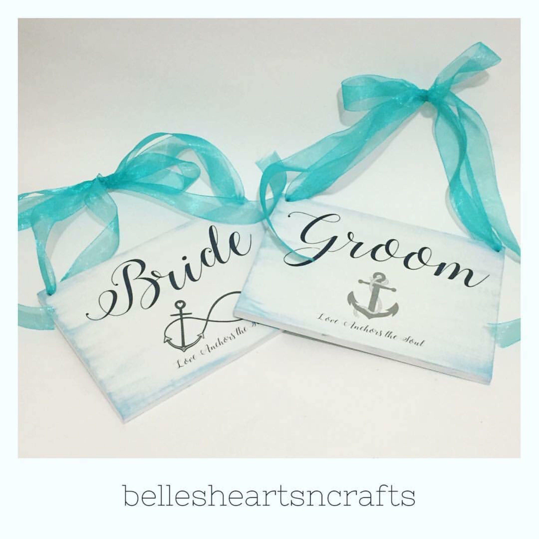 Bride, Groom, Anchor, Nautical or Beach Wedding Chair Signs. Anchor ...