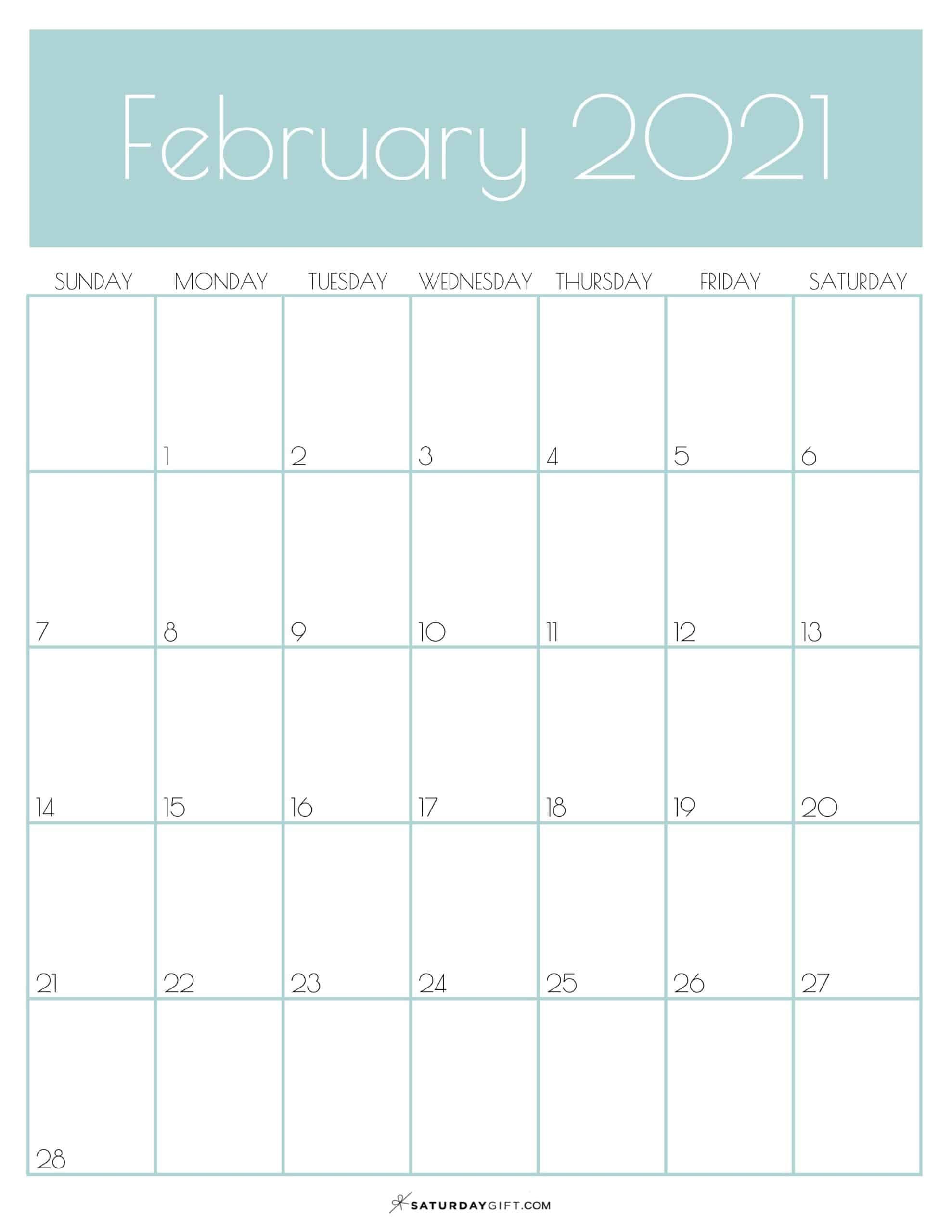 Cute Free Printable February 2021 Calendar Saturdaygift In 2020 Calendar Printables 2021 Calendar Vertical Calendar