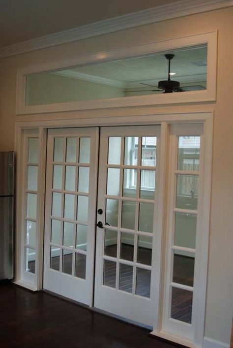 8 ft opening with french doors and transom windows ...