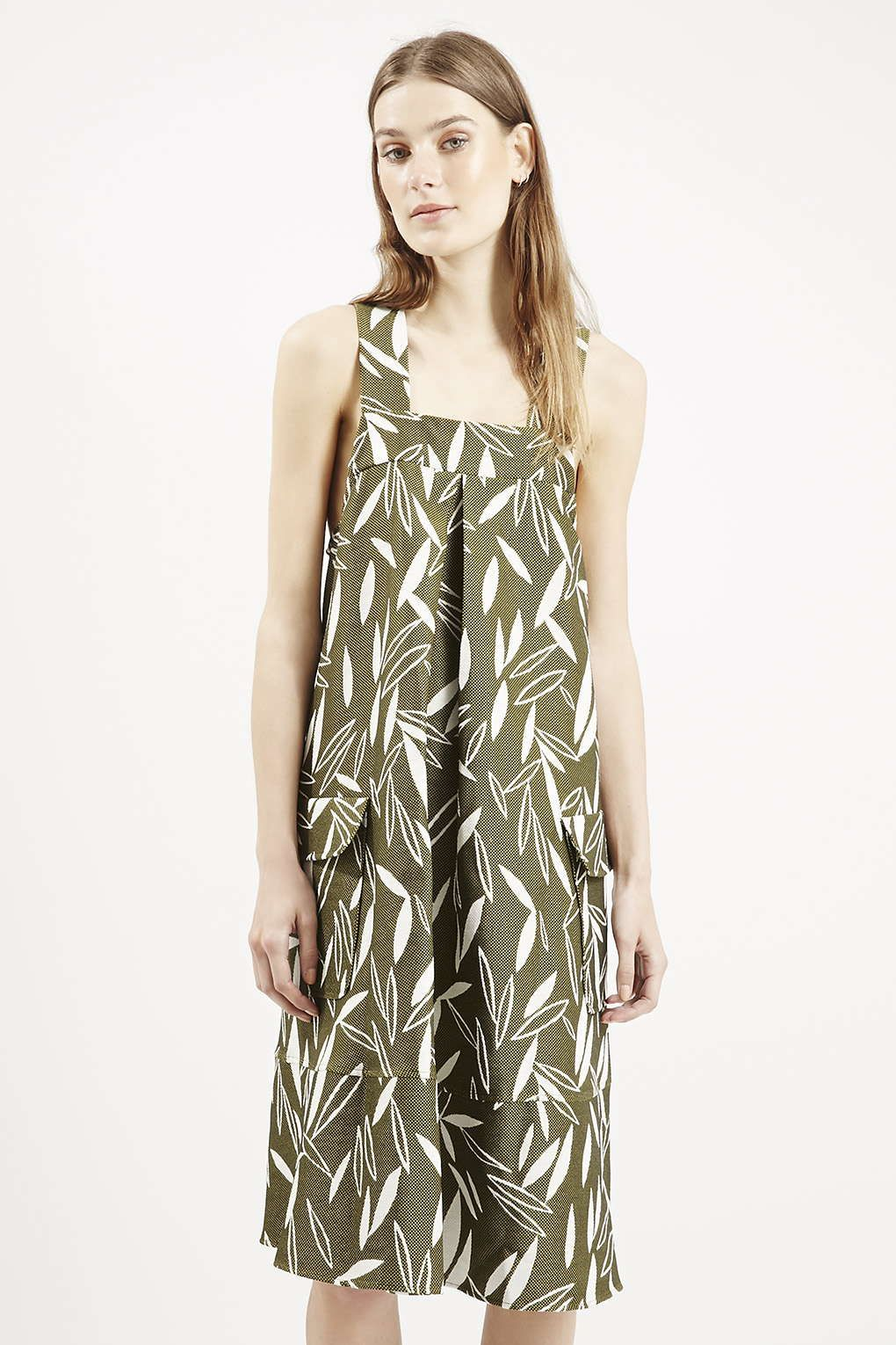 e4f84c374a913 Photo 3 of Premium Olive Leaf Print Pinafore Dress