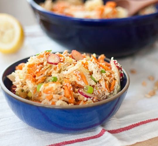 Go-To Salad Recipe: Peanut, Carrot and Cabbage Slaw — Recipes from The Kitchn. One of the best things about this slaw (aside from a delicious peanut dressing) is how you can add in any veggie you currently have in your fridge. Celery, bell peppers, and radishes all are fair game. And if you want to make it a full-on meal, add in some tofu and soba noodles to round it out.