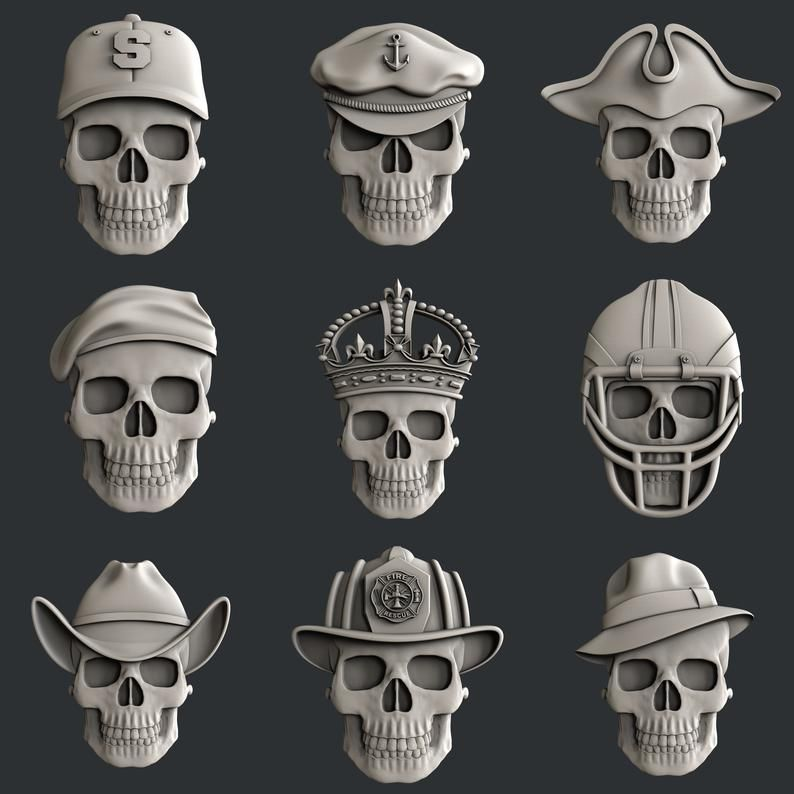 3d STL models for CNC router set skulls2 в 2020 г. | 3d ...