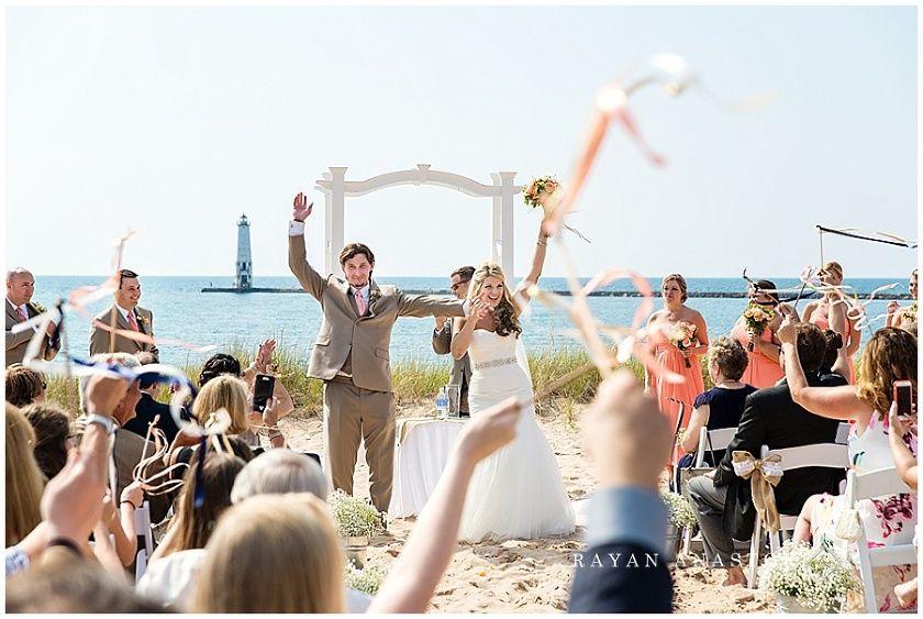 Lake Michigan Beach Wedding At Harbor Lights Resort Elberta Life Saving Station