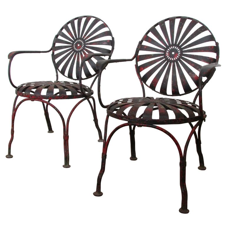 1930 S Francois Carre Sunburst Spring Garden Chairs From A