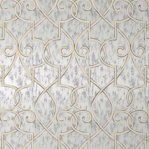 hampton lattice wallpaper in metallic silver | wallpaper