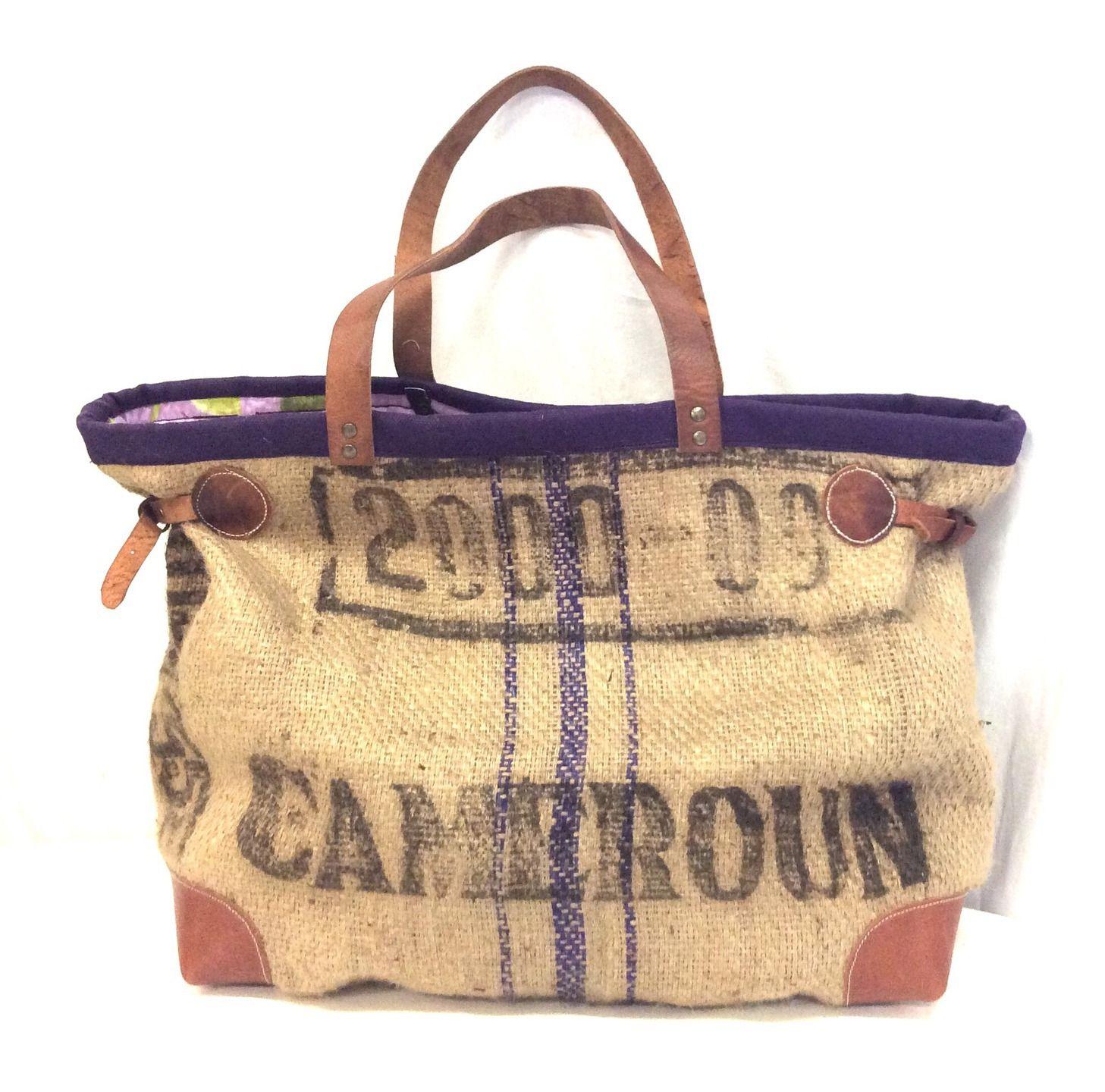 sac cabas toile de jute recycl e violet cuir sacs. Black Bedroom Furniture Sets. Home Design Ideas