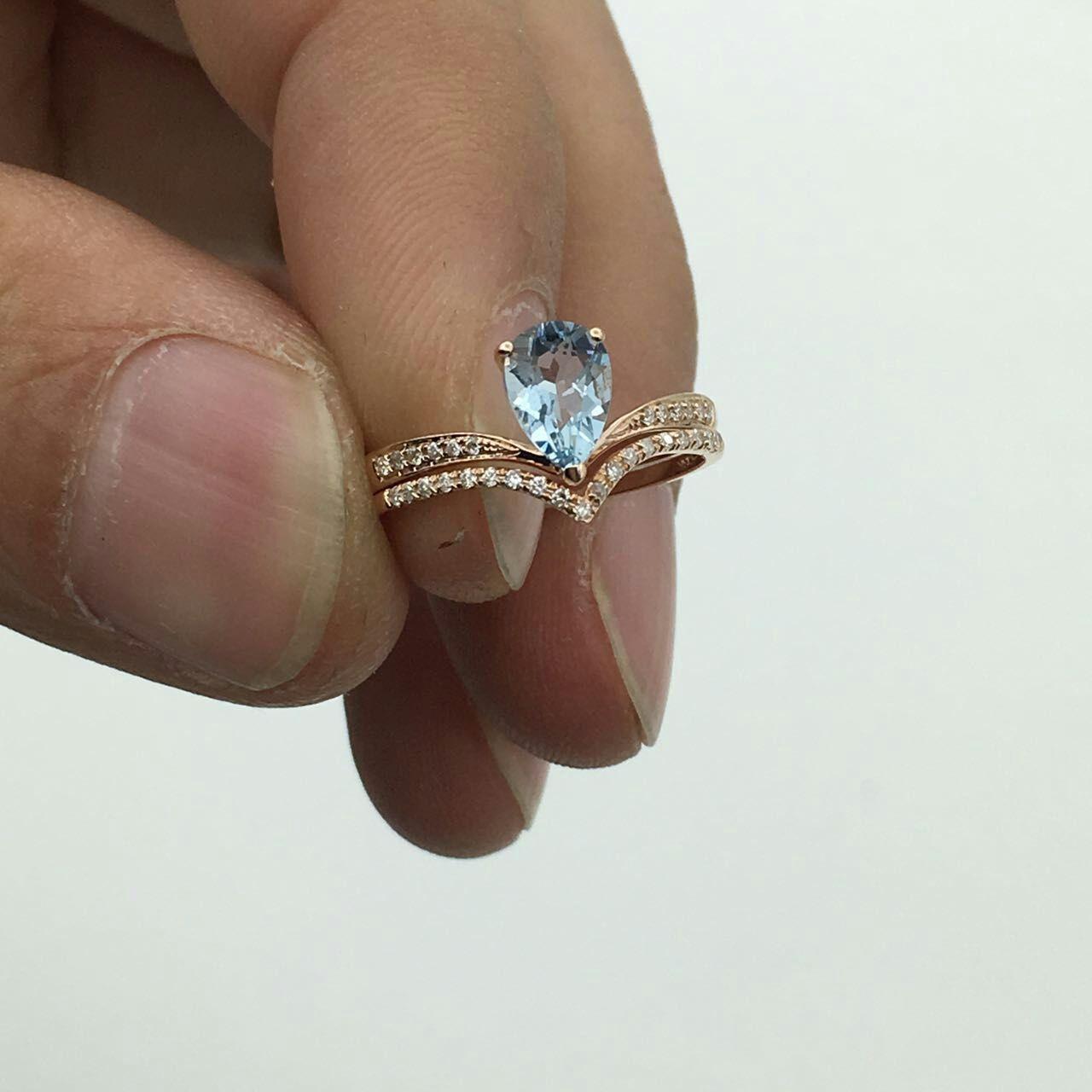 Sale Pear Aquamarine Ring Set Diamond Wedding Ring Bridal Set Wedding Ring Set Ro Wedding Ring Sets Aquamarine Engagement Ring Beautiful Wedding Ring Sets