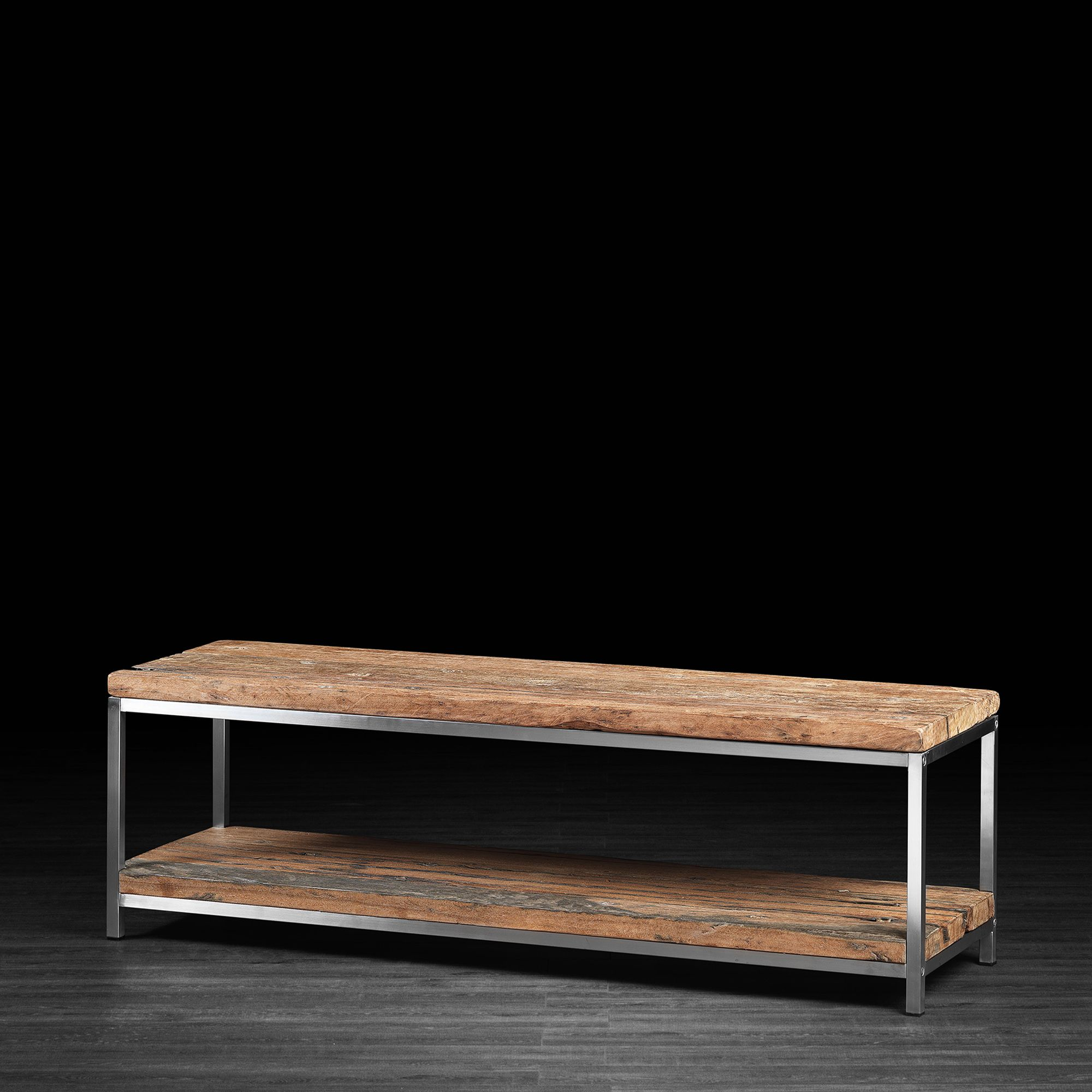 Tv Unit Made Of Recycled Railway Wood With Stainless Steel Legs  # Meuble Console Pour Tv