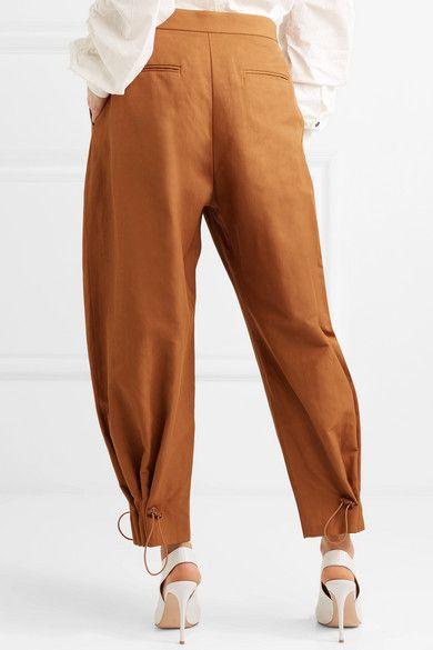 New Buy Cheap Best Prices Toggle-detailed Poplin Wide-leg Pants - Tan Stella McCartney Cheap Sale Shop For tgmk0I