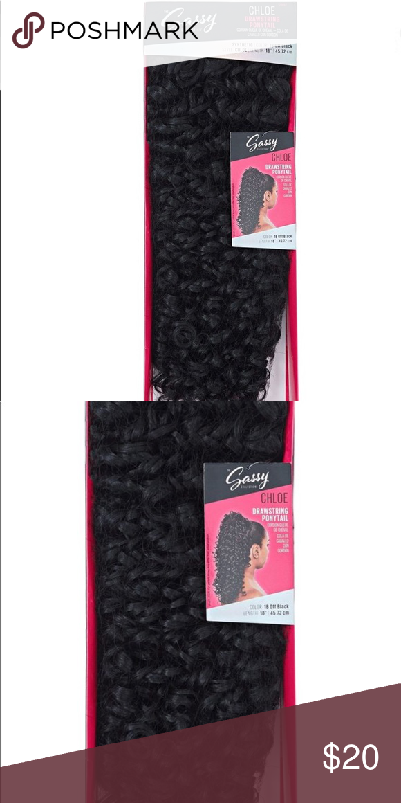 Ponytail extension Color 1B Off Black    Pre-curled and colored for styling versatility Easy, affordable, and quick styling Longer and fuller hair instantly 265 grams.  Sassy Chloe Drawstring Ponytails are fun ready to wear styles that completely transform your look in no time. Fashion forward hair pieces that blend with your natural hair to provide you with longer and fuller hair instantly Accessories Hair Accessories #fullerponytail Ponytail extension Color 1B Off Black    Pre-curled and color #fullerponytail