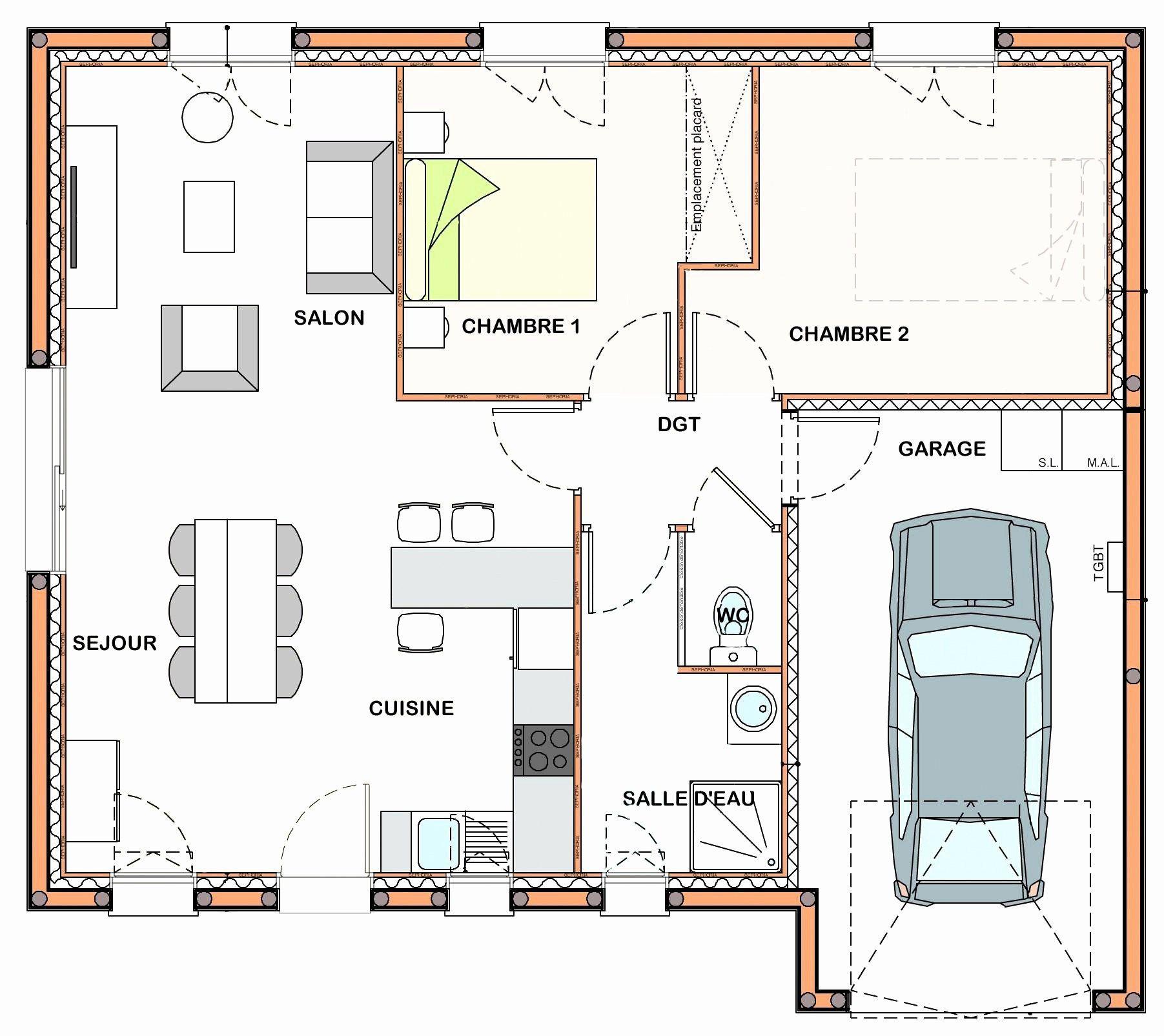 34 Plan Maison 50m2 2 Chambres Plan De La Maison Plan De Maison Rectangulaire Plan Maison Contemporaine Plan Maison Plain Pied