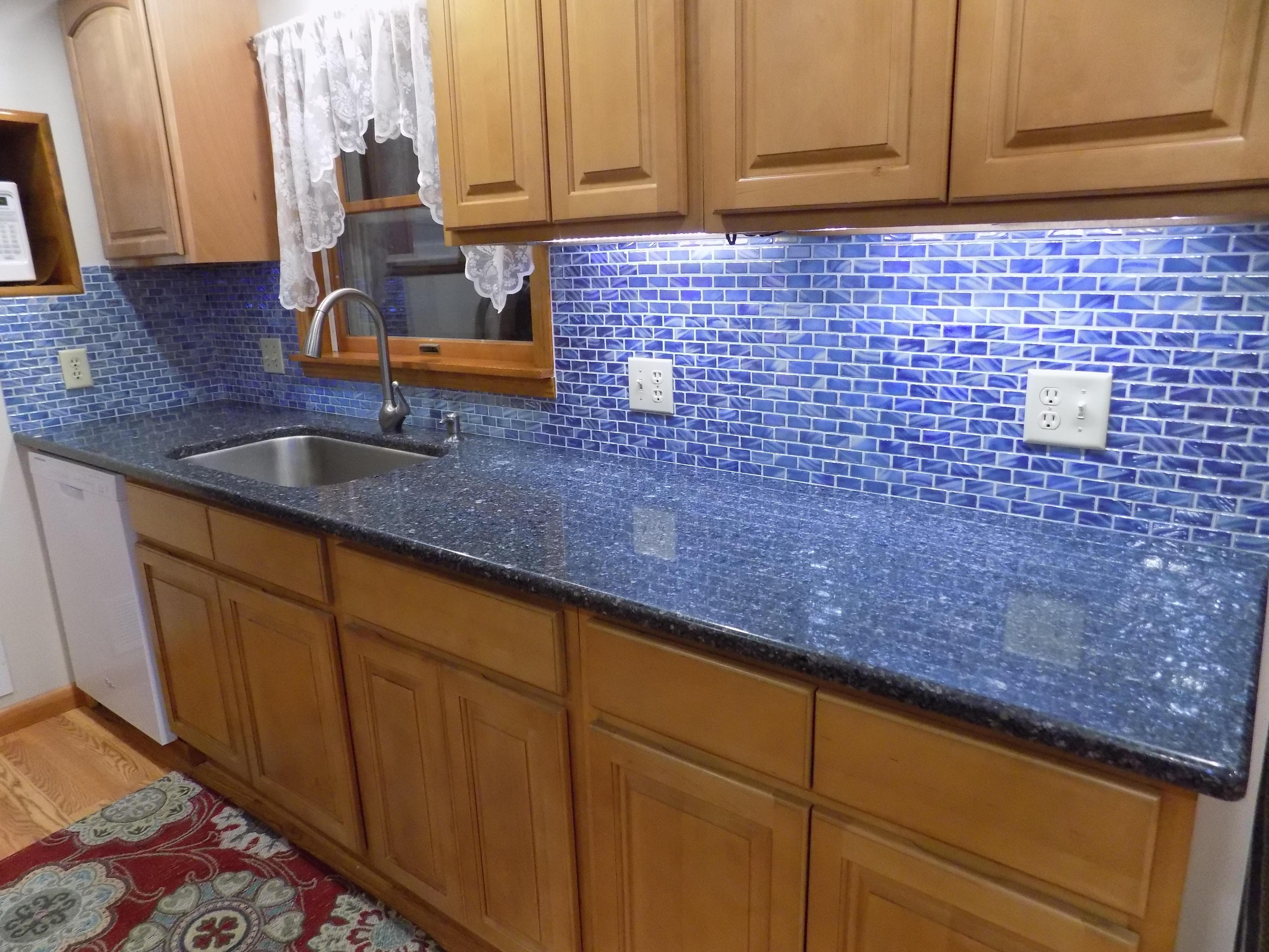 - Blue Recycled Glass Tile Backsplash Glass Tiles Kitchen, Kitchen