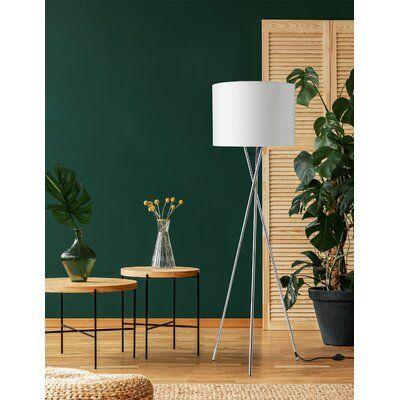 "Corrigan Studio Burwell 62"" Tripod Floor Lamp Base Finish Chrome Plate Shade Metal in White Size 25"" L x 25"" W x 62"" H"