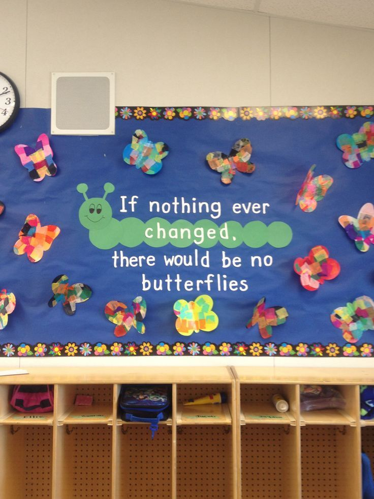 If Nothing Ever Changed There Would Be No Butterflies Bulletin Board Www Readingrainbow Com Butterfly Bulletin Board Spring Bulletin Boards Preschool Bulletin