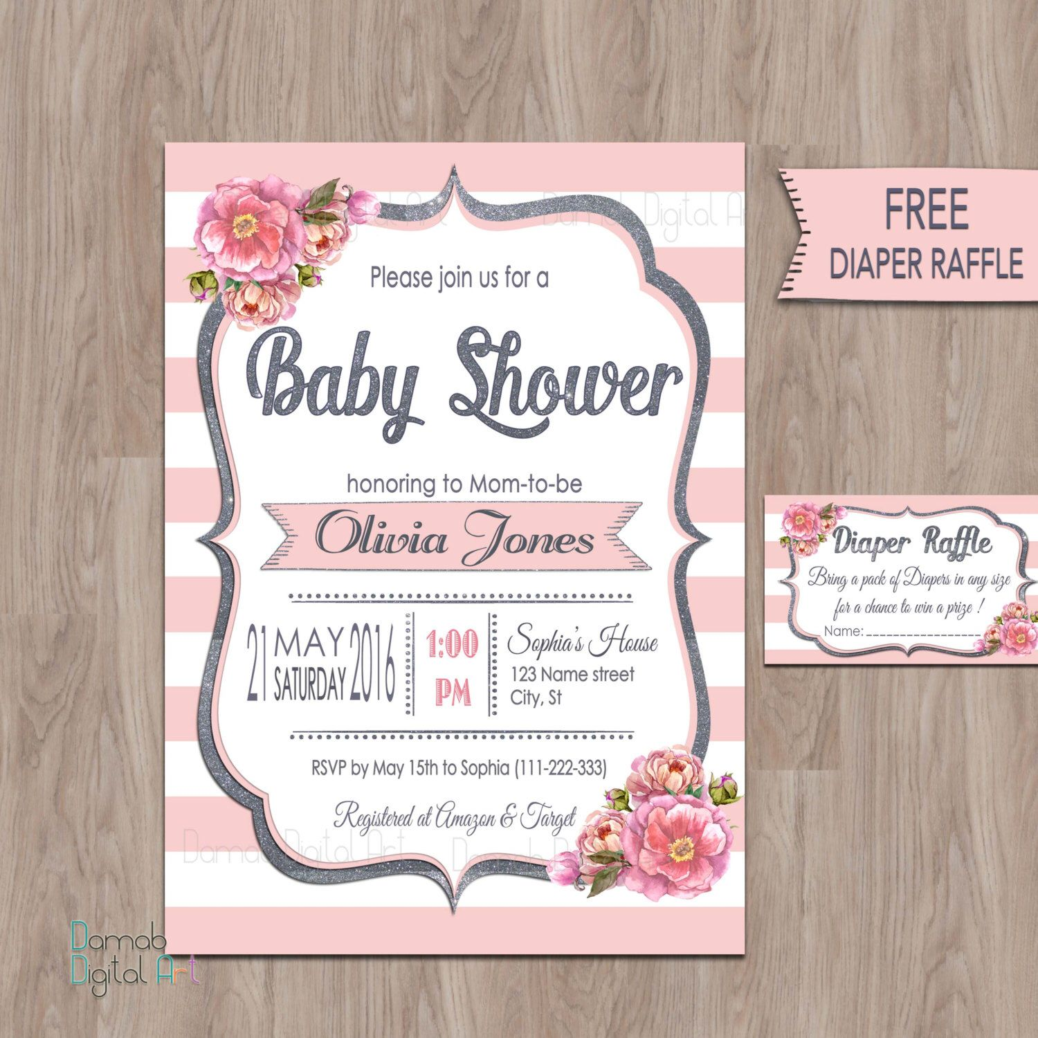 Pink Gray Baby Shower Invitations pink baby shower invitation