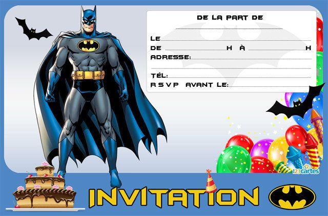 carte invitation anniversaire batman imprimer batman portant son masque et sa cape bleu nuit