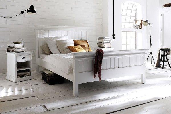 Bett Halifax Im Landhausstil Weiss 180x200cm Einfach Schoner