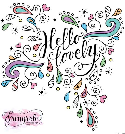 Hello Lovely Doodles Coloring Page Adult Coloring Pages Free