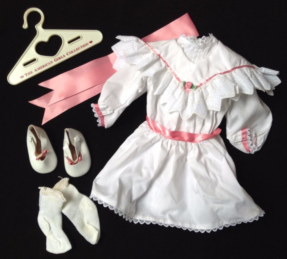 Pleasant Company American Girl Samantha white Tea Dress pink ribbon NWOB