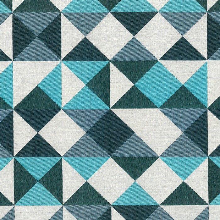 tissu triangles bleu canard motif