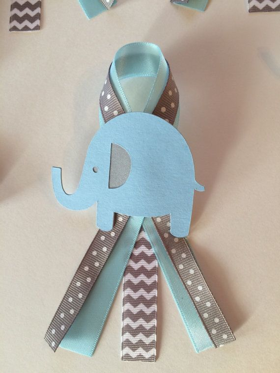 Elephant Baby Shower Guests Pins Set Of 12 Blue And Grey Elephant
