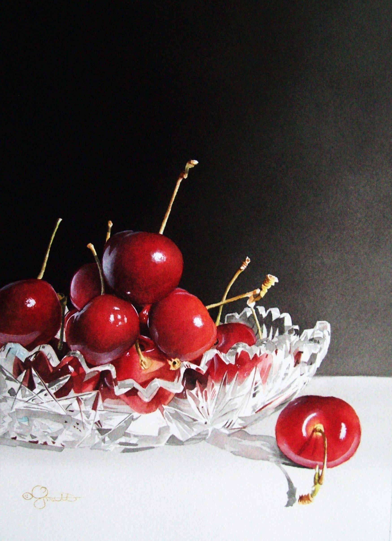 Cherries Crystal Crystals Watercolors Watercolor Fruit Original Art Painting